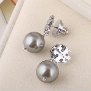 Tory Burch Silver Logo Pearl Drop Earings